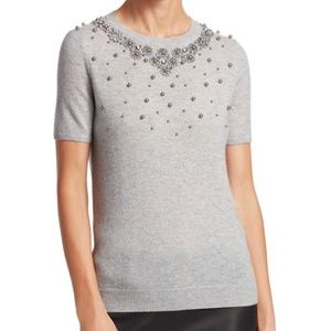 Saks Fifth Avenue Embellished Cashmere Sweater Top